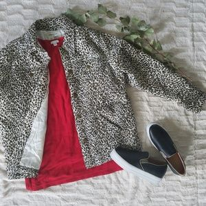 100% silk leopard print Coldwater Creek coat